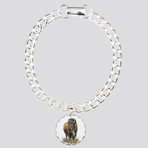 Watercolor Buffalo Bison Charm Bracelet, One Charm