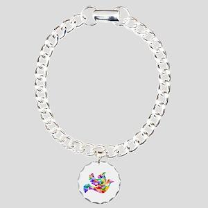 Rainbow Dove of Hearts Charm Bracelet, One Charm