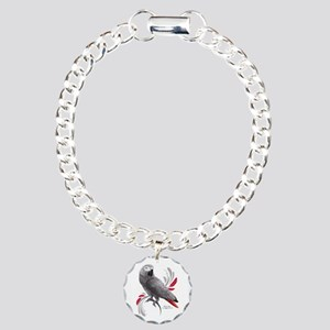 African Grey Parrot Charm Bracelet, One Charm