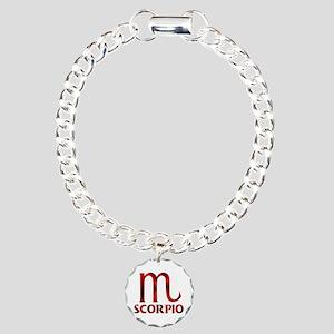 Red Scorpio Symbol Charm Bracelet, One Charm