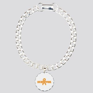 Orange Ribbon Survivor Charm Bracelet, One Charm