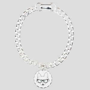 Cute Arctic Fox with Gla Charm Bracelet, One Charm