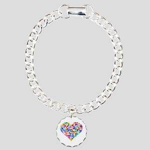 Rainbow Heart of Hearts Charm Bracelet, One Charm