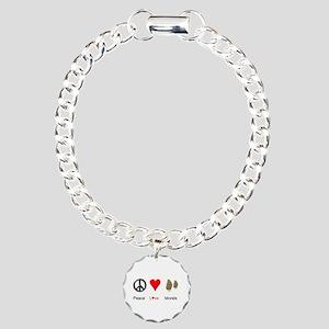 Peace Love Morels Charm Bracelet, One Charm