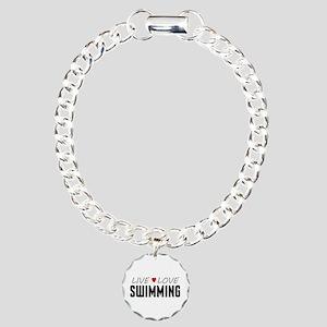 Live Love Swimming Charm Bracelet, One Charm