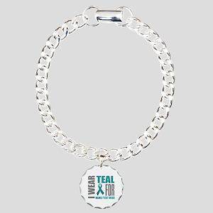 Teal Awareness Ribbon Cu Charm Bracelet, One Charm