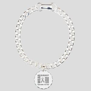 Gray Awareness Ribbon Cu Charm Bracelet, One Charm