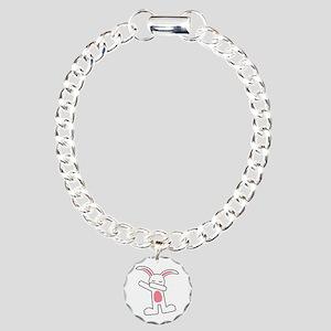 Dabbing Bunny Charm Bracelet, One Charm
