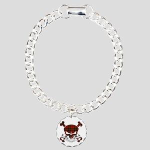 Wallace Tartan Skull Charm Bracelet, One Charm