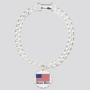Personalized American Flag Charm Bracelet, One Cha