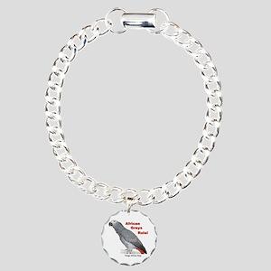 African Greys Rule! Charm Bracelet, One Charm