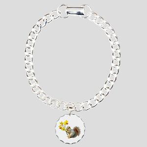 Squirrel Daffodils Charm Bracelet, One Charm
