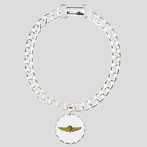 Navy - Parachutist Badge Charm Bracelet, One Charm