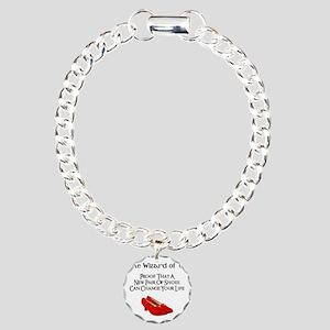 Dorothys Ruby Red Slippe Charm Bracelet, One Charm