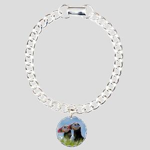 Puffin Pair 7.355x9.45 Charm Bracelet, One Charm