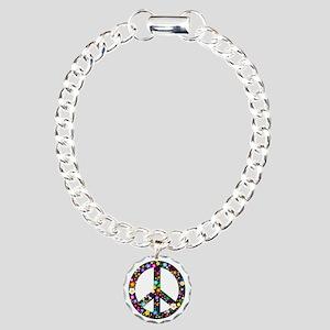 Hippie Flowery Peace Sign Charm Bracelet, One Char