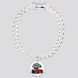 Red Race Car with Checke Charm Bracelet, One Charm