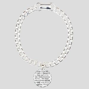 Proverbs 3:5-6 KJV Dark  Charm Bracelet, One Charm