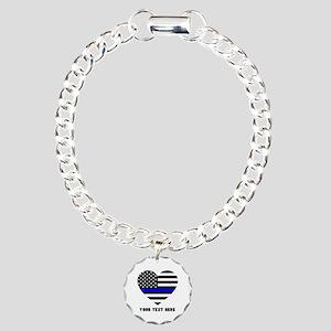 Thin Blue Line Love Charm Bracelet, One Charm