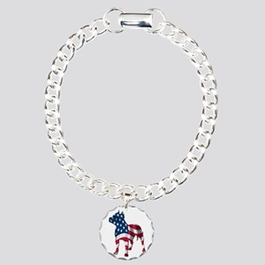 Patriotic Pit Bull Design Charm Bracelet, One Char