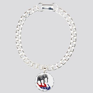 Republican Elephant Shadow Charm Bracelet, One Cha