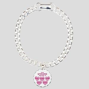 Personalized Grand kids hearts Charm Bracelet, One