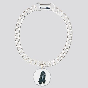 Cocker (black- white bib) Charm Bracelet, One Char