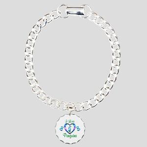 I Love Penguins Charm Bracelet, One Charm