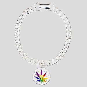 Rainbow Marijuana Scorpi Charm Bracelet, One Charm