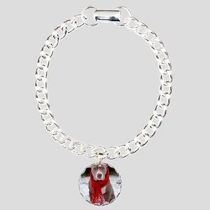 Holiday Pit Bull Charm Bracelet, One Charm