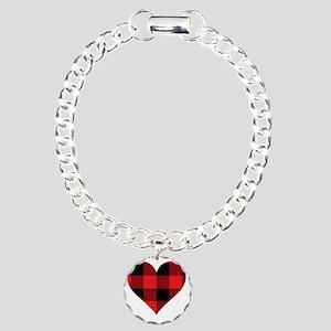 Red PLaid Heart Charm Bracelet, One Charm
