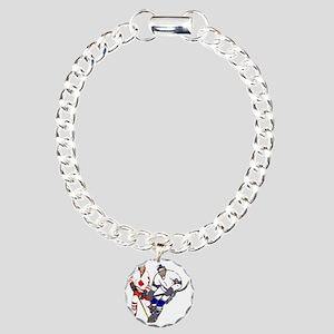 Ice Hockey Charm Bracelet, One Charm