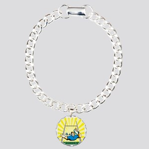 rugby player scoring try Charm Bracelet, One Charm