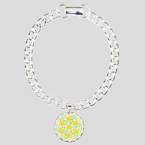 Daffodils Mandala Charm Bracelet, One Charm