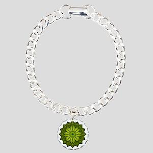 Green Flower Heart Chakr Charm Bracelet, One Charm