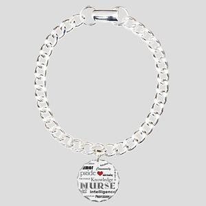 Nurse Pride black with r Charm Bracelet, One Charm