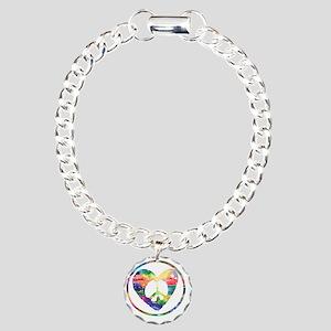 Peace Heart Rainbow C Charm Bracelet, One Charm