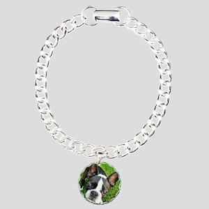 Boston Terrier Gaze Charm Bracelet, One Charm