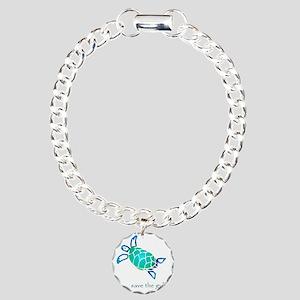 turtle-pap-blue-grad Charm Bracelet, One Charm