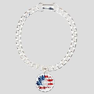 Patriotic Sunflower Charm Bracelet, One Charm