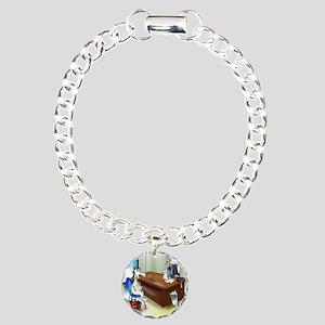 5258_banking_cartoon Charm Bracelet, One Charm