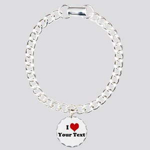 Customized I Love Heart Charm Bracelet, One Charm