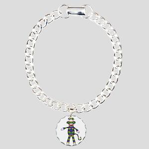 Mardi Gras Sock Monkey Charm Bracelet, One Charm