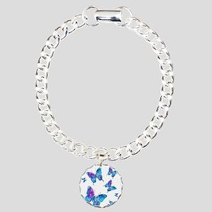 Electric Blue Butterfly Flurry Charm Bracelet, One