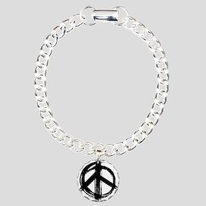 Peace sign - black Charm Bracelet, One Charm