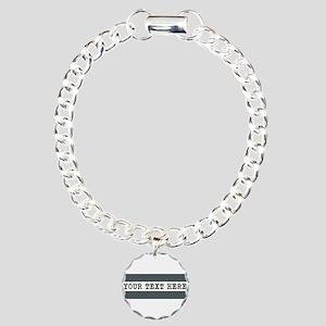 Personalized Gray Stripe Charm Bracelet, One Charm