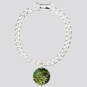 Koi Pond and Water Lilie Charm Bracelet, One Charm