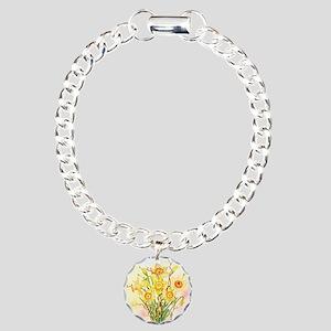 Watercolor Daffodils Yel Charm Bracelet, One Charm