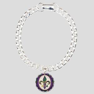 Fleur de lis Mardi Gras Beads Charm Bracelet, One