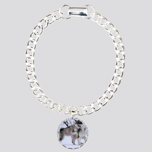 Wolves Playing Charm Bracelet, One Charm
